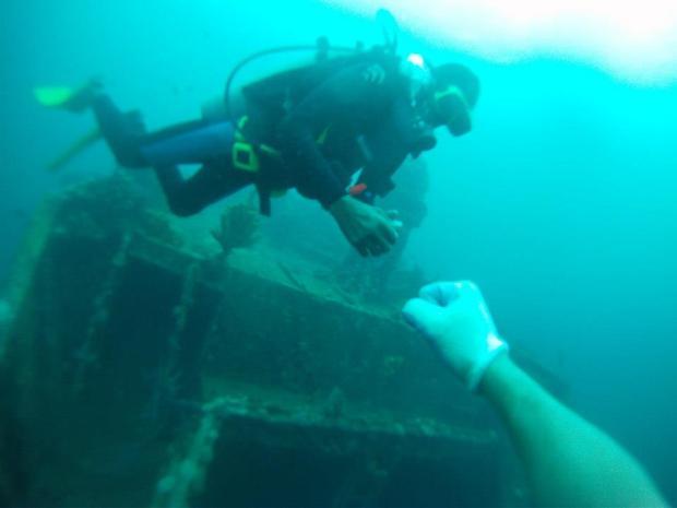 diving fist bump