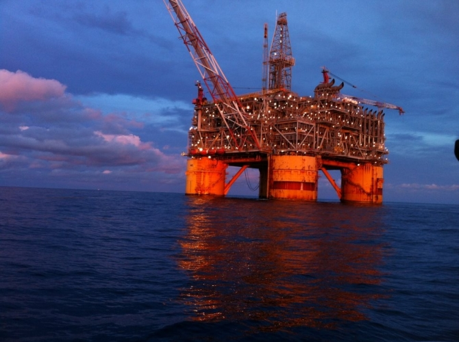 "Floating Oil Rig called ""Mars"" 60 miles off the Louisiana Coast."