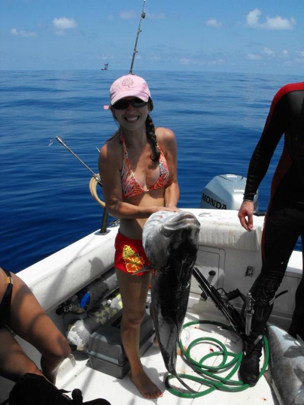 Matt's wife, Michelle, having fun in the Gulf sun.