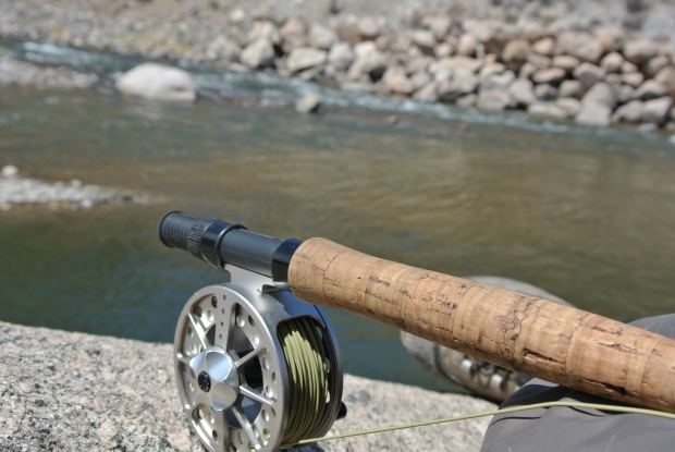 After breaking my new Sage climbing down a hill to Clear Creek, I put my good reel on this cheap Bass Pro rod.  It was a lot more work but, it did the trick.