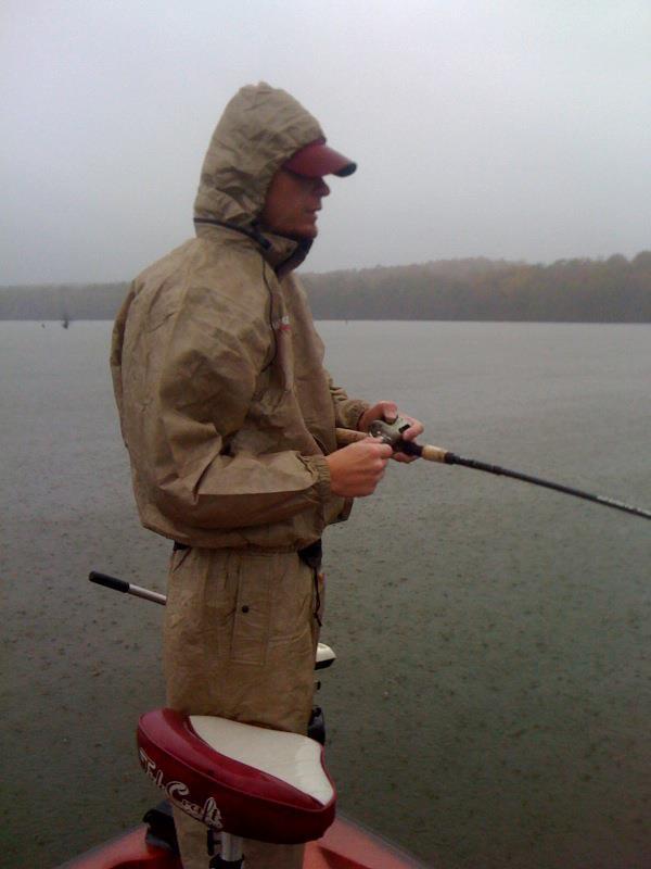 hard fishing in the rain