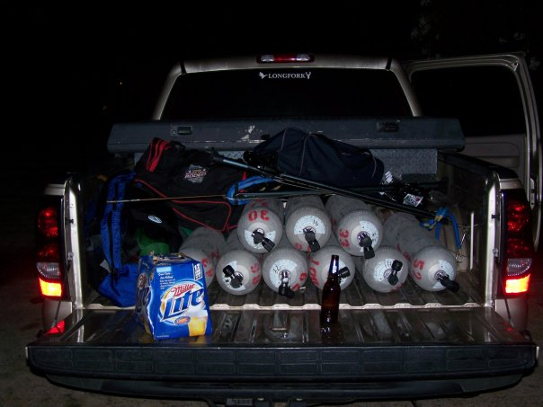 Truck loaded down with tanks, dive gear, and beer (for after the dive of course!)